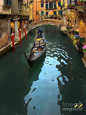 Gondolier In Venice, Italy Art Print