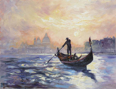 Sunset Painting - Gondolier by Irek Szelag