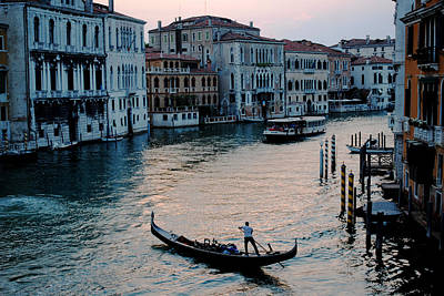 Photograph - Gondolier On Grand Canal by Robert Moss