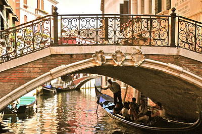 Gondolier Under A Bridge Art Print