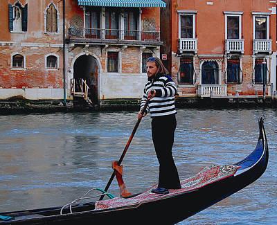 Photograph - Gondolier Venice by Caroline Stella