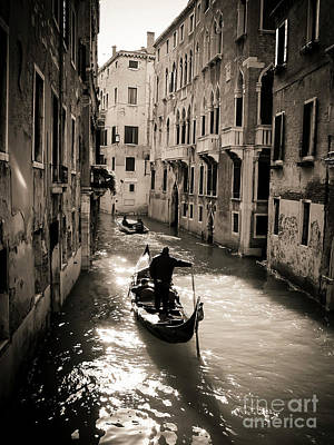 Gondolier. Venice. Italy Art Print by Bernard Jaubert