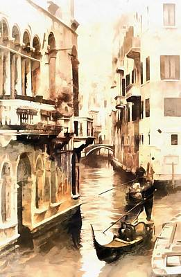 Photograph - Gondoliers In Venice Vintage by Dorothy Berry-Lound