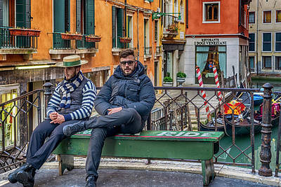 Photograph - Gondoliers Waiting For Passengers Venice_dsc1320_0228201 by Greg Kluempers