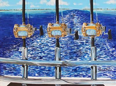 Trolling Painting - Gone Fishin' by Leo  Devillers