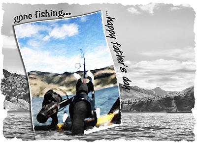 Montana Digital Art - Gone Fishing Father's Day Card by Susan Kinney