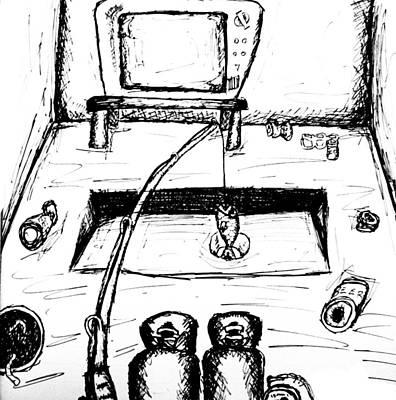 Beer Drawings - Gone Fishing by Jera Sky