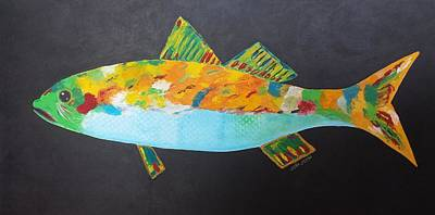 Trout Painting - Gone Fishing by Judy Jones