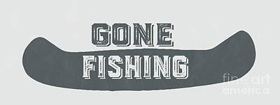 Gone Fishing Vintage Sign Art Print by Edward Fielding