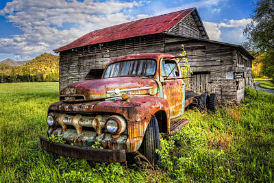 Antique Tow-truck Photograph - Gone To Pasture by Debra and Dave Vanderlaan