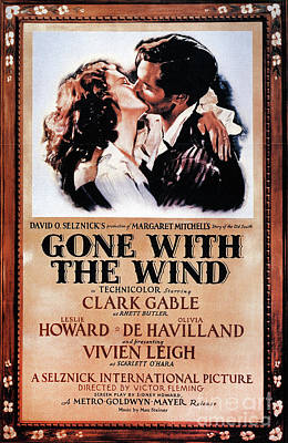 Photograph - Gone With The Wind Fully Hand Colored Restored Poster by Doc Braham