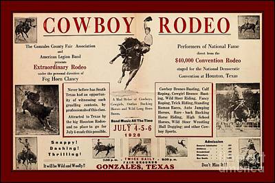 Drawing - Gonzales Texas County Fair Cowboy Rodeo Bronco Busting 1928 Texas Cowboy Culture by Peter Gumaer Ogden