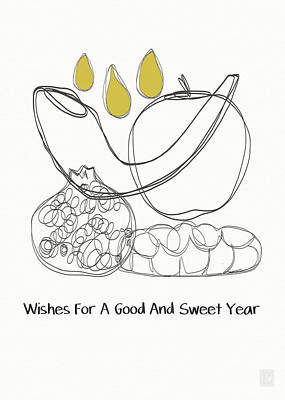 Modern Jewish Mixed Media - Good And Sweet Year- Art By Linda Woods by Linda Woods