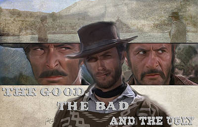 Sergio Leone Painting - Good Bad Ugly by Paul  Cunard