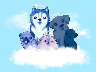 Pomeranian Mixed Media - Good Boy Heaven by Ludwig Van Bacon