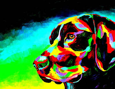 Chocolate Lab Puppy Painting - Good Boy by Mike OBrien