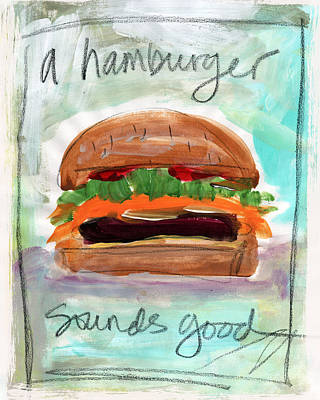 Bacon Painting - Good Burger by Linda Woods