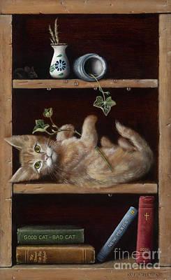 Bookshelf Painting - Good Cat - Bad Cat by Kate Robertson