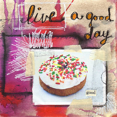 Mixed Media - Good Day Donut- Art By Linda Woods by Linda Woods