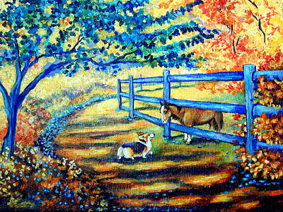 Puppies Painting - Good Day Greetings - Pembroke Welsh Corgi by Lyn Cook