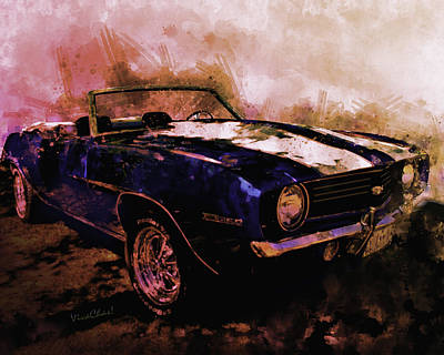 Digital Art - Good Day Sunshine Camaro Ss396 Convertible by Chas Sinklier