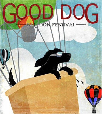 Good Dog Painting - Good Dog Hot Air Balloon Festival Dogs In Flight by Tina Lavoie