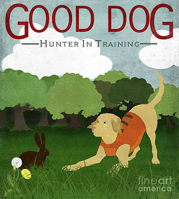 Hunting Dog Painting - Good Dog Hunter In Training Golden Lab, Bunny Rabbit by Tina Lavoie