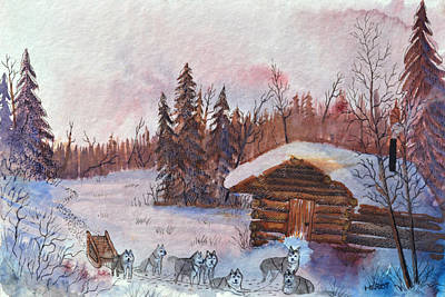 Mushing Painting - Good Dogs by Steve Heriot