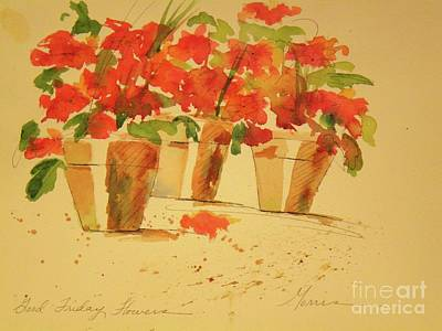Watercolor With Pen Mixed Media - Good Friday Flowers by Jill Morris