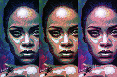 Rihanna Mixed Media - Good Girl Gone Bad by Maria Arango