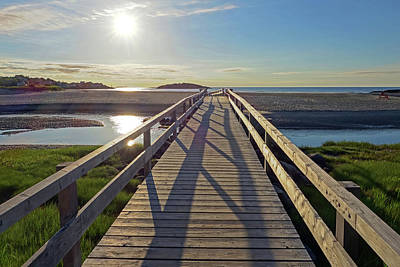 Photograph - Good Harbor Beach Footbridge Sunny Shadow by Toby McGuire