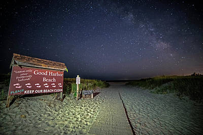 Photograph - Good Harbor Beach Sign Under The Stars And Milky Way by Toby McGuire