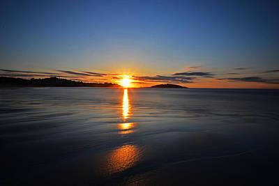 Photograph - Good Harbor Beach Sunrise Blue Sky by Toby McGuire