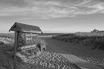 Photograph - Good Harbor Sign At Sunset Black And White by Toby McGuire