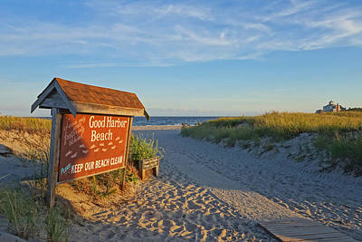 Photograph - Good Harbor Sign At Sunset by Toby McGuire