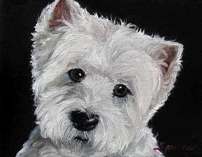 Dog Close-up Painting - Good Listener by Mary Sparrow