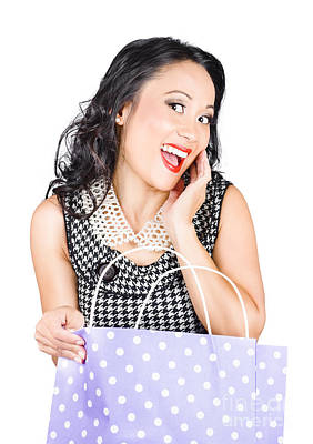 Amazement Photograph - Good Looking Asian Girl With Bag. Shopping Sales by Jorgo Photography - Wall Art Gallery