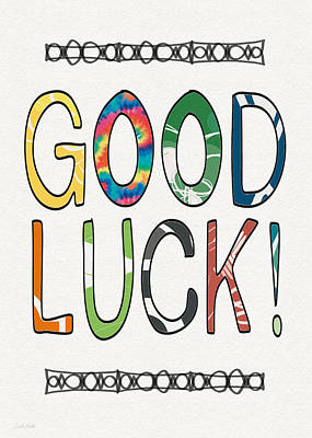 Good Luck Card- Art By Linda Woods Print by Linda Woods