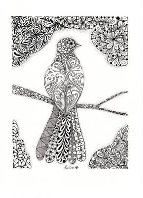 Zentangles Drawing - Good Morning Birdie by Paula Dickerhoff