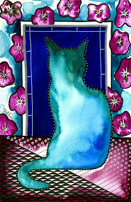 Painting - Good Morning Glory - Cat Painting by Dora Hathazi Mendes