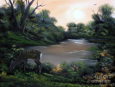 Painting - Good Morning My Deer. by Cynthia Adams