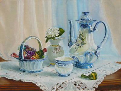 Tea Service Painting - Good Morning My Love by Vasily Zolottsev