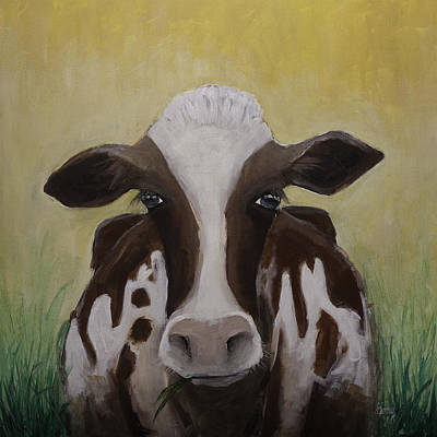 Painting - Good Morning Original Cow Portriat  by Gray  Artus