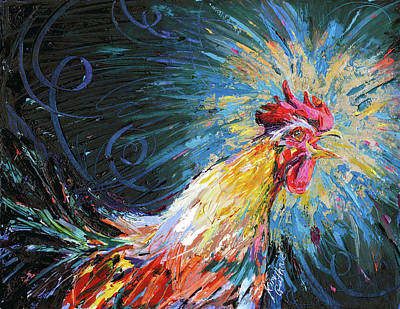 Good Morning Rooster Oil Painting By Kim Guthrie Art Print by Kim Guthrie