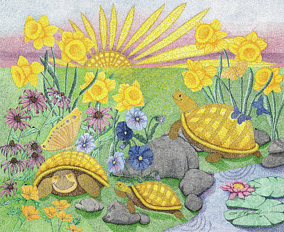 Daisy Drawing - Good Morning Sunshine by Judy Cheryl Newcomb