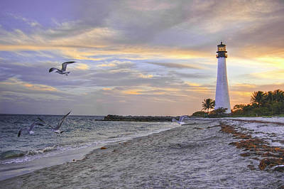 Good Night Cape Florida Lighthouse Art Print by Photo taken by Crawford A. Wilson III
