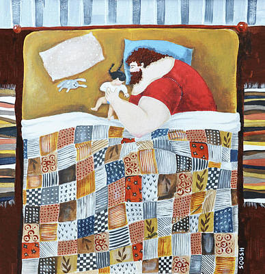 Art Quilt Painting - Good Night by Soosh