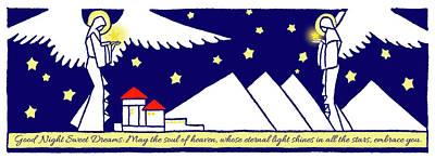 Night Angel Mixed Media - Good Night, Sweet Dreams - Inspirational Vintage Illustration Text Art  by Rayanda Arts