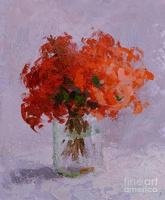 O Give Thanks Unto The Lord - Plasm 136 1a - Red Flowers In A Vase - An Impressionist Still Life Art Print by Philip Jones