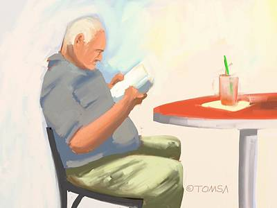Digital Art - Good Read And A Drink by Bill Tomsa